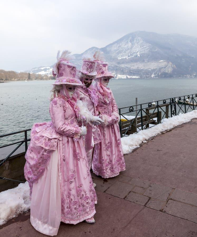 Förklädd grupp - Annecy Venetian karneval 2013 arkivfoto