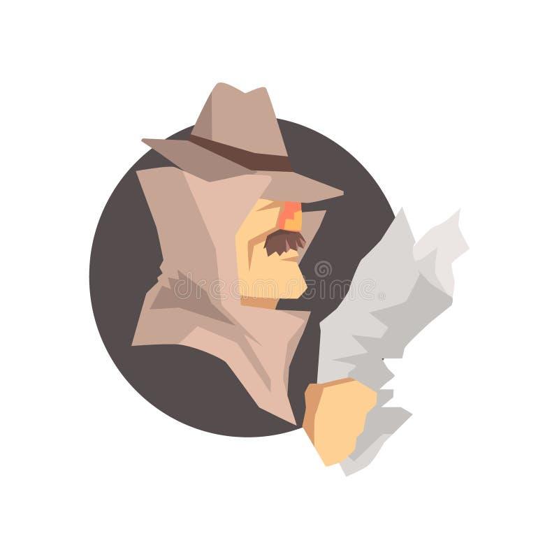 Förklätt detektiv- tecken som bär den klassiska fedorahattavataren royaltyfri illustrationer