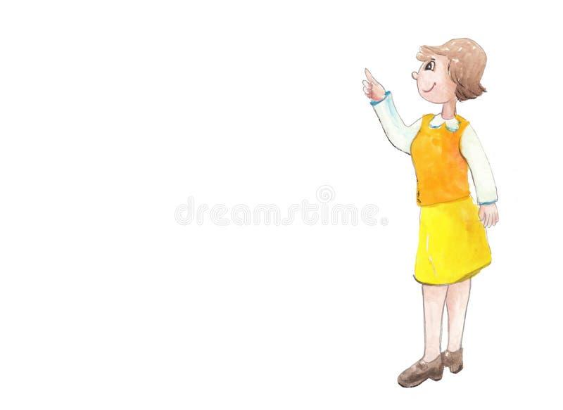 Förklaring av vattenfärgläraren stock illustrationer