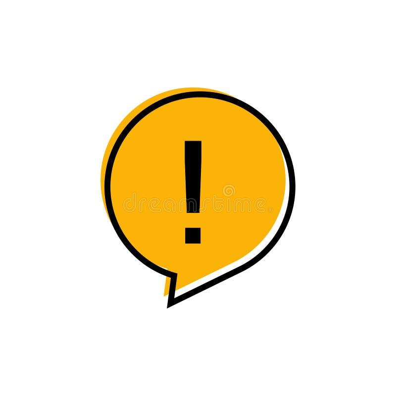 Förklaring runt viktigt tecken Gul isoleringstecken Farosymbol stock illustrationer