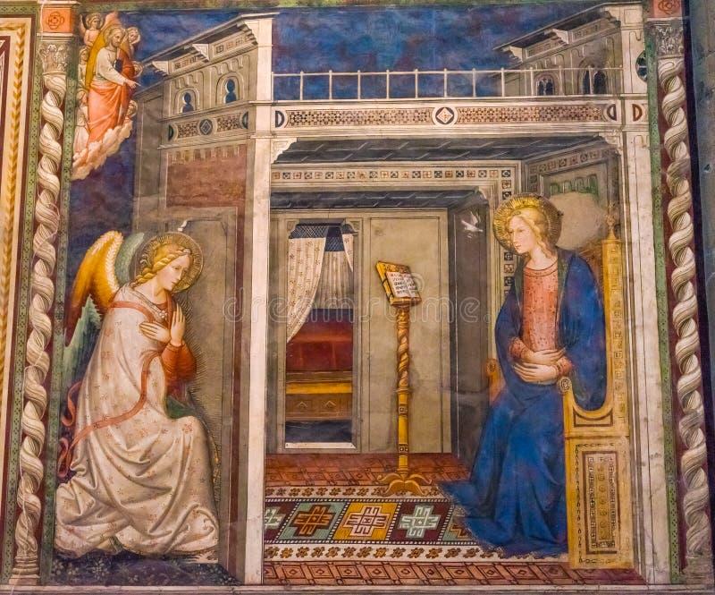 Förklaring Santa Maria Novella Church Florence Italy för Ghirlandaio oskuldfreskomålning royaltyfria bilder
