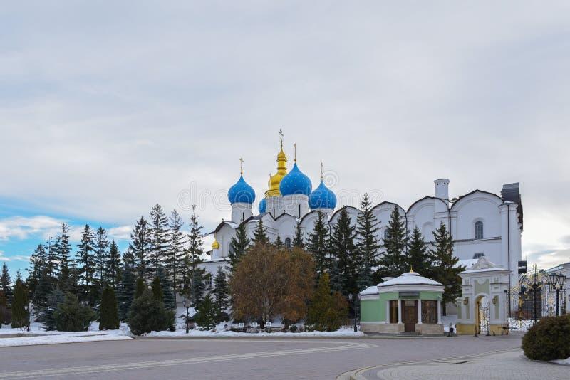 Förklaringdomkyrka av den Kazan Kreml, Tatarstan, Ryssland fotografering för bildbyråer