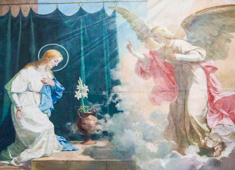 Förklaringfreskomålning i basilikan av Valencia arkivbild