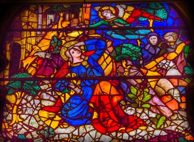 FörklaringMary Angel Stained Glass Window Orsanmichele kyrka arkivfoto