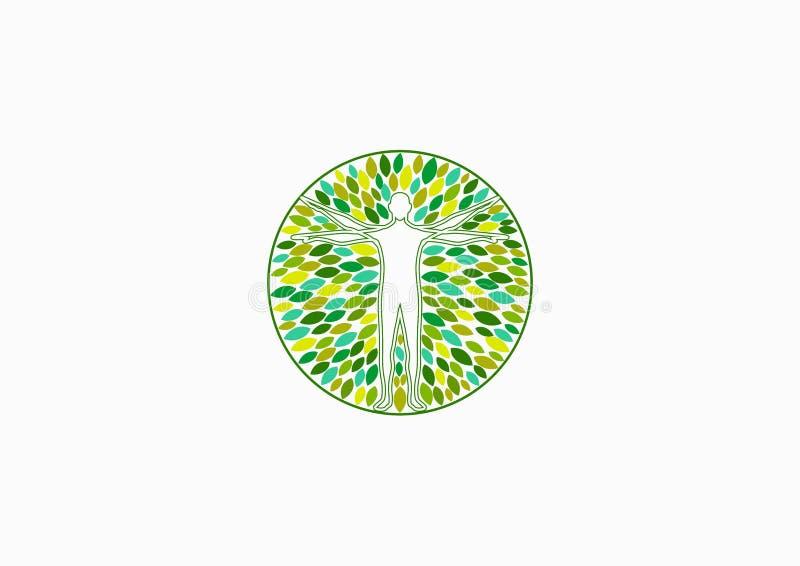 Förkroppsliga den vård- logoen, den naturliga fysiska wellnessen och designen för folkterapibegrepp royaltyfri illustrationer