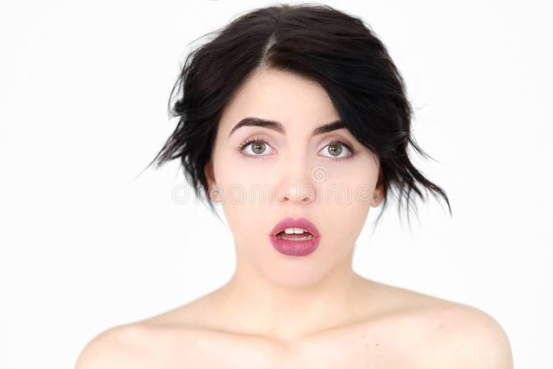 Förkrossad förvånad häpen flicka för sinnesrörelse framsida royaltyfri fotografi