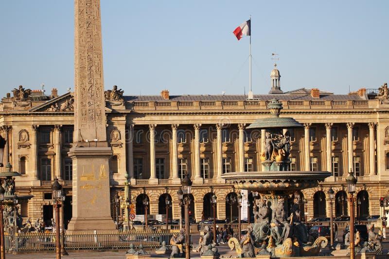 Förlägga de la Concorde, en av den mest vising gränsmärket i Paris på slutet av Champset-Elysees, fyrkanten, den franska revoluti arkivbild