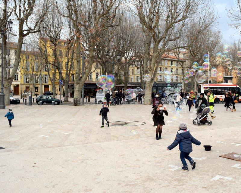 Förlägga de la Rotonde, Aix-en-provence, Frankrike arkivfoton