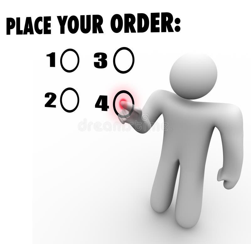 Förlägga din beställningskund väljer den utvalda produktfavoriten Prefe royaltyfri illustrationer