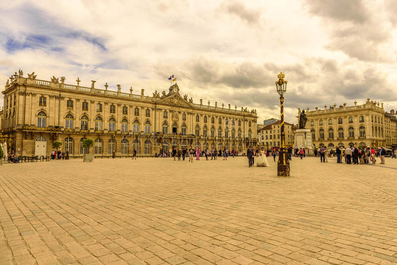Förlägga Stanislas, historiskt centrum av Nancy i Lorraine, Frankrike arkivfoto