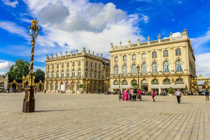 Förlägga Stanislas, historiskt centrum av Nancy i Lorraine, Frankrike arkivbild