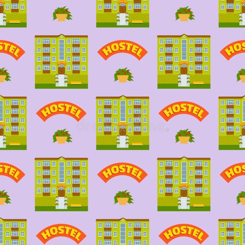 Förlägger turist- handelsresande för hotellbyggnader vektorn för bakgrund för modellen för den stads- fasaden för staden för läge stock illustrationer