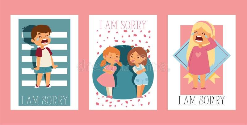 Förlåta mig vektorungeteckenet, och barn grälar in förlåta den ledsna ursäktillustrationen ställer in av förlåtelse royaltyfri illustrationer