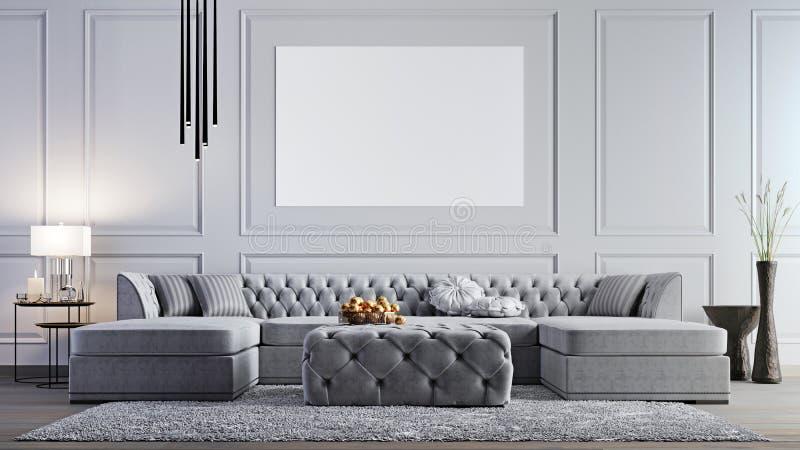 Förlöjliga upp affischen i elegant vardagsrum i stilfull lägenhet stock illustrationer