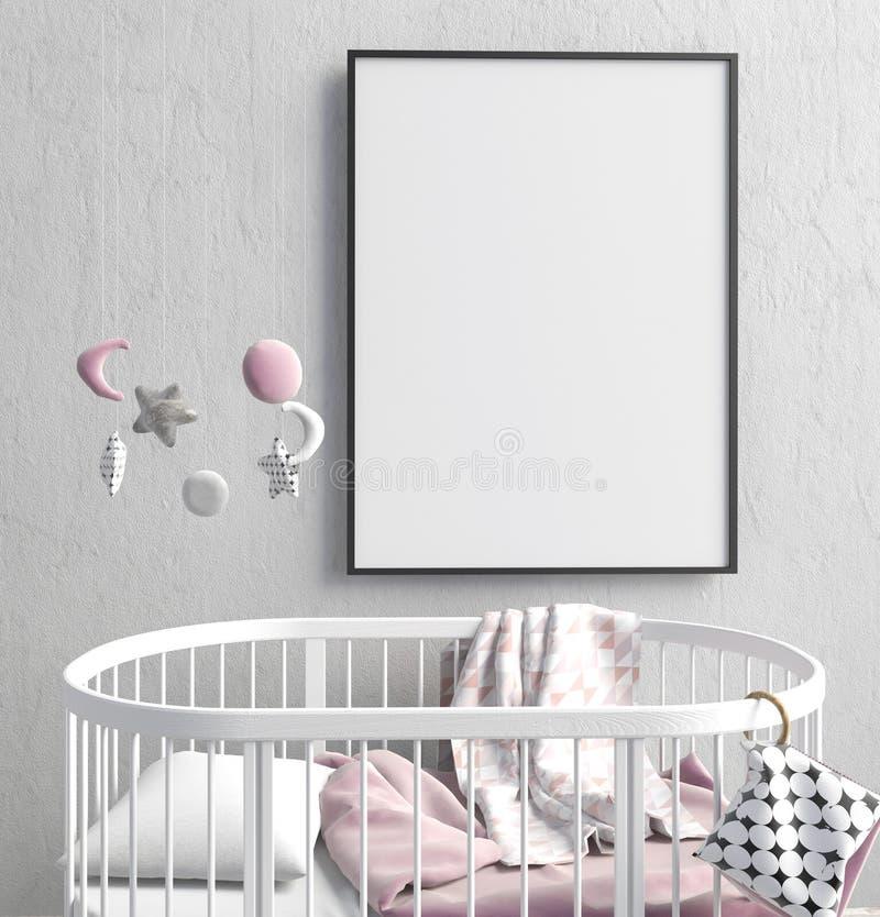 Förlöjliga upp affischen i inre av barnet sova stället modernt vektor illustrationer