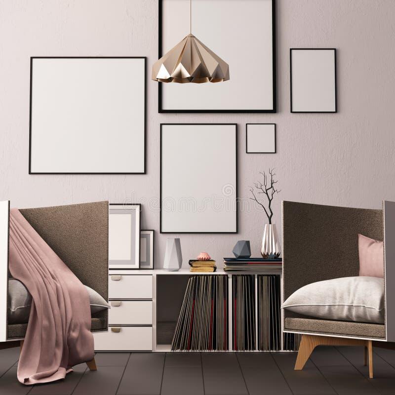 Förlöjliga upp affischen i inre av vardagsrummet med boxning för vinylLPs hipstertrendstil 3D tolkning, illustration 3D stock illustrationer