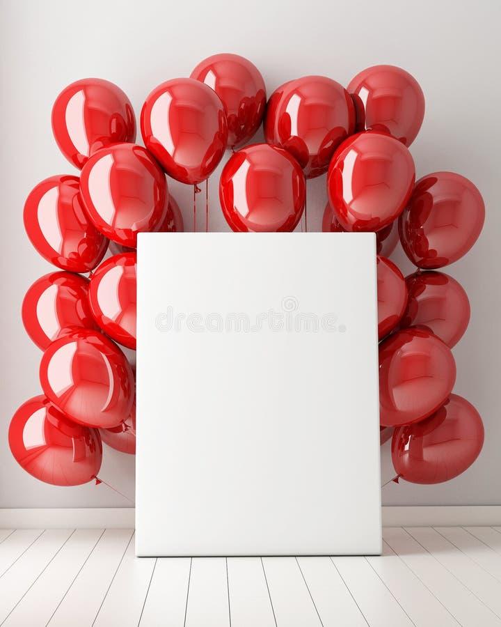 Förlöjliga upp affischen i inre bakgrund med röda ballonger, stock illustrationer