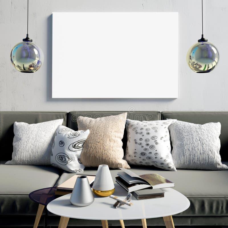 Förlöjliga upp affischen i inre med den kaffetabellen och soffan Bo ro stock illustrationer