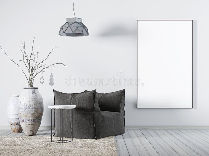 Förlöjliga upp affischen i inre vit tygfåtölj för vardagsrum, en kaffetabell och stor vas vektor illustrationer