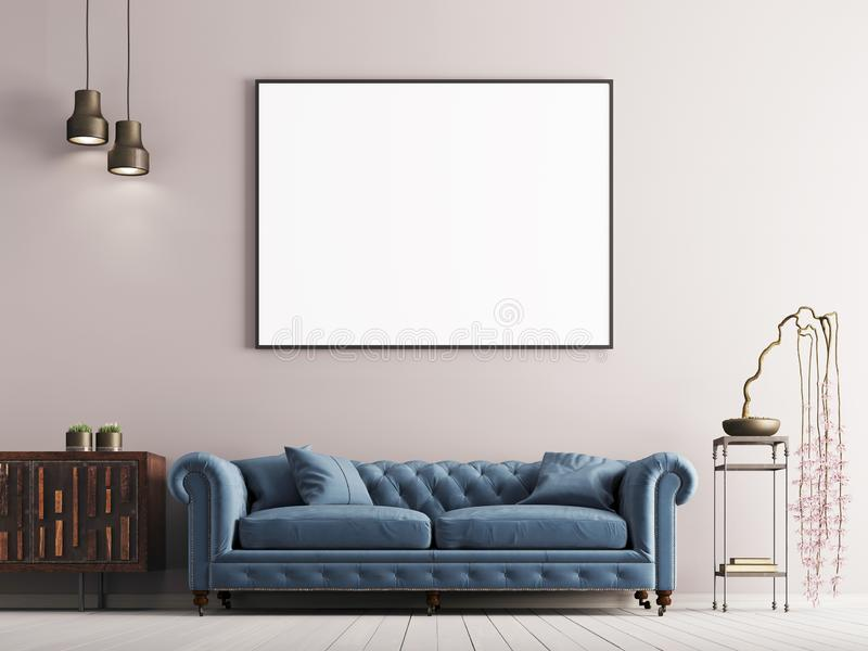 Förlöjliga upp affischen i klassisk stilinre med den blåa soffan och växten royaltyfri illustrationer