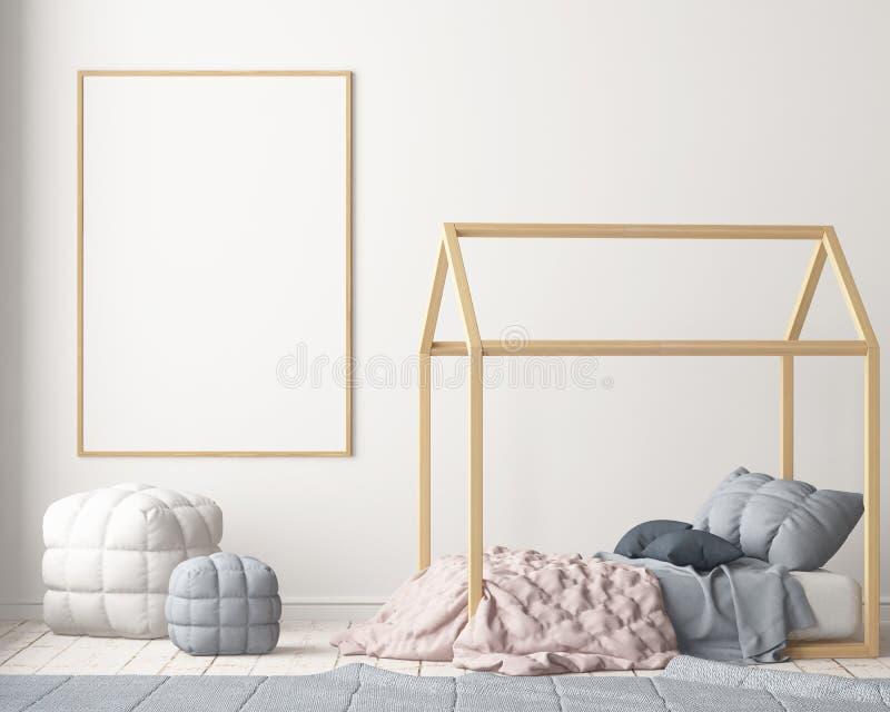 Förlöjliga upp affischen i sovrummet för barn` s med en markis Skandinavisk stil 3d vektor illustrationer