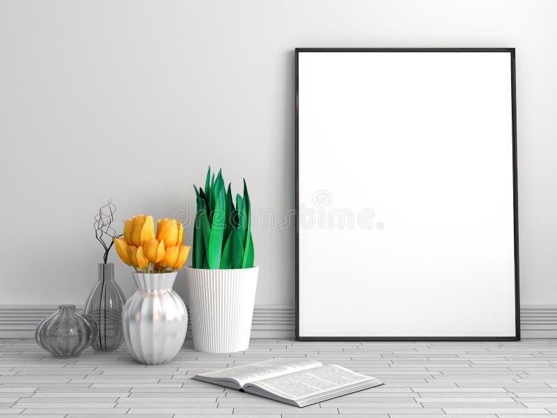 Förlöjliga upp affischen med blomman och vasen, illustrationen 3D royaltyfri illustrationer