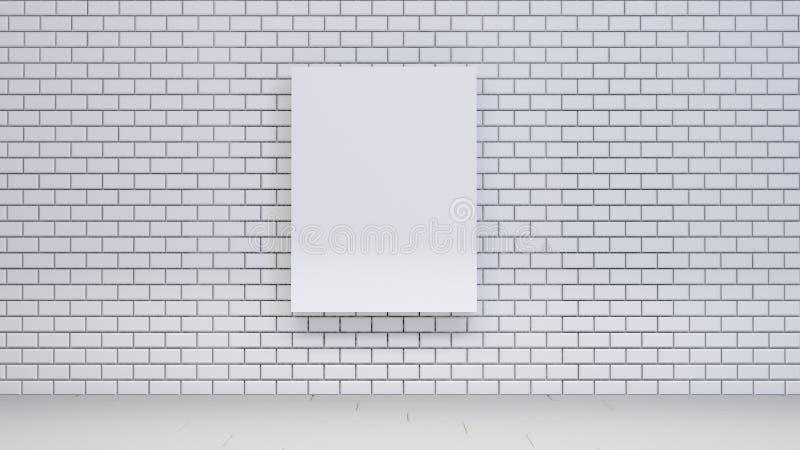 Förlöjliga upp affischen på tegelstenväggen med böcker, tolkningen 3d stock illustrationer