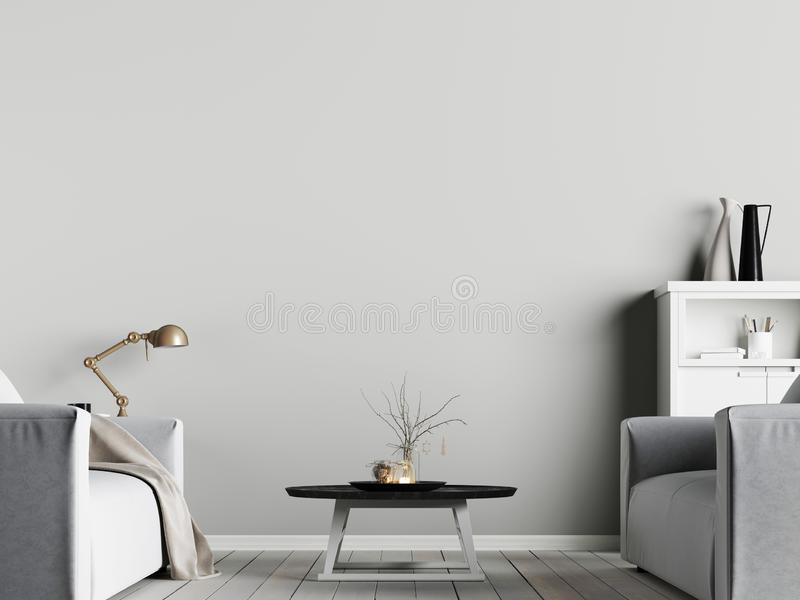 Förlöjliga upp affischen på väggen i inre med emty väggbakgrund med fåtöljen, scandinavian stil royaltyfri illustrationer