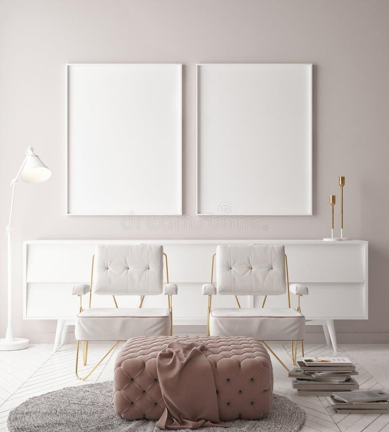 Förlöjliga upp affischer, hipsterbakgrund, minimalismvägg med två stolar stock illustrationer