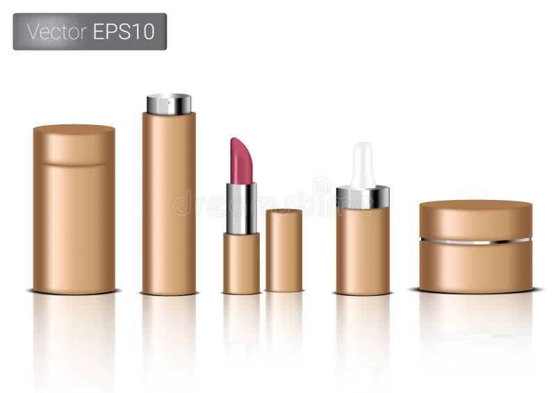 Förlöjliga upp den bruna förpackande produkten för realistiskt papper för kosmetisk den skönhetflaska, sprej, läppstift och dropp vektor illustrationer