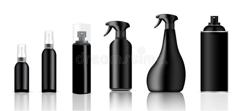 Förlöjliga upp den förpackande produkten för realistisk svart plast- sprej för rengöringsmedel- eller toalettartikelflaskuppsättn stock illustrationer