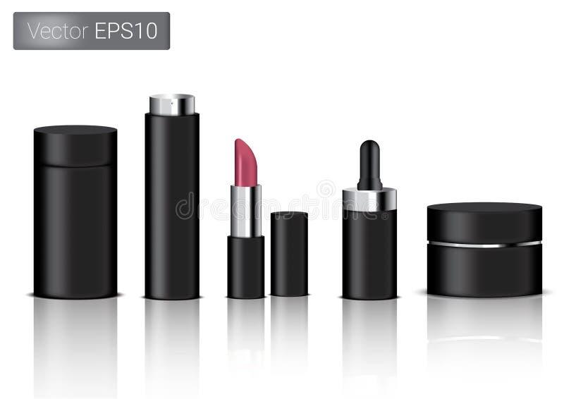 Förlöjliga upp den realistiska svarta förpackande produkten för den kosmetiska den isolerade skönhetflaskan, sprej, läppstift och royaltyfri illustrationer