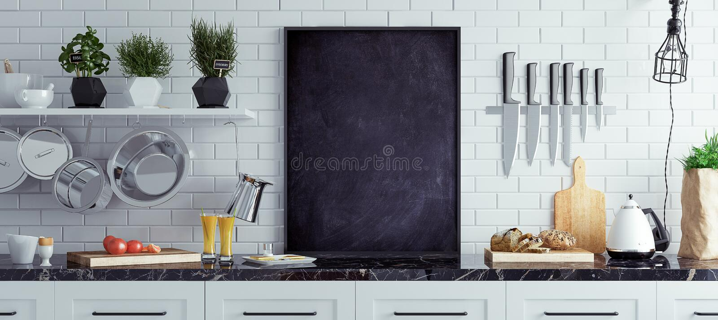 Förlöjliga upp den svart tavlan i kökinre, skandinavisk stil, panorama- bakgrund fotografering för bildbyråer