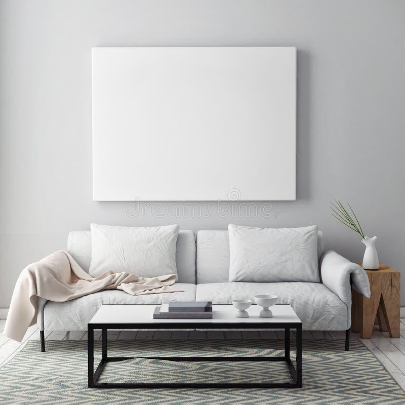 Förlöjliga upp den tomma affischen på väggen av livingroomen royaltyfri foto