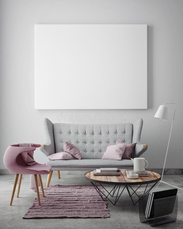 Förlöjliga upp den tomma affischen på väggen av livingroomen, fotografering för bildbyråer