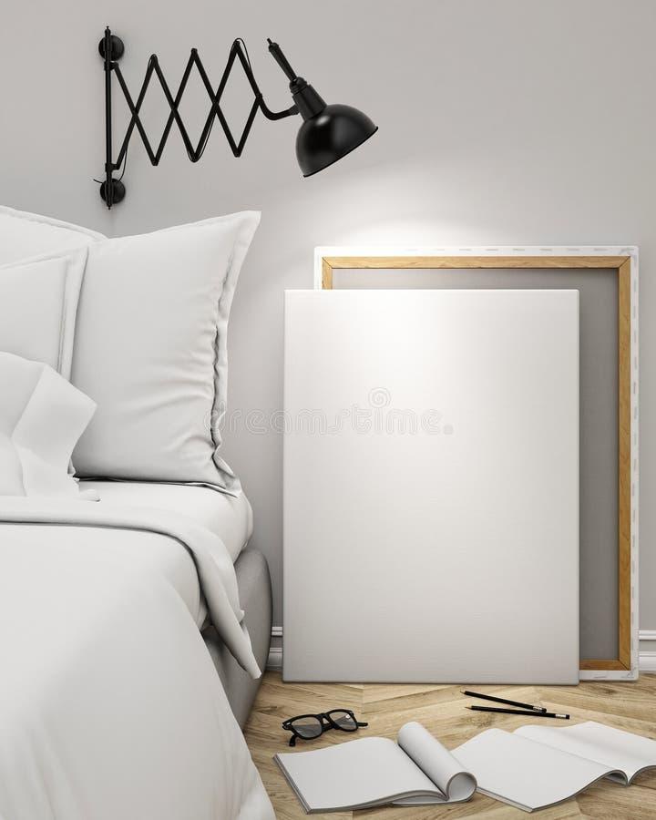 Förlöjliga upp den tomma affischen på väggen av sovrummet, bakgrund för illustration 3D royaltyfri illustrationer