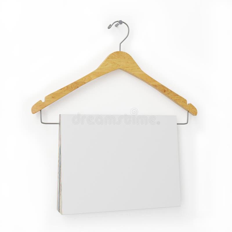 Förlöjliga upp den tomma tidskrifträkningen som hänger på klädhängare, på den vita väggen, bakgrund royaltyfri illustrationer