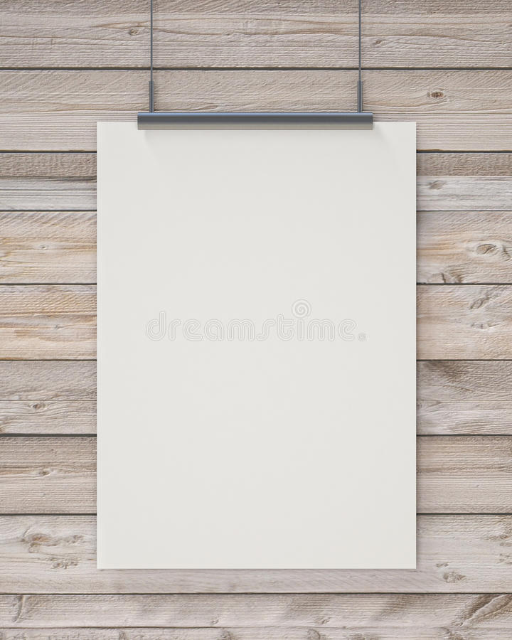 Förlöjliga upp den tomma vita hängande affischen på horisontalträplankor väggen, bakgrund arkivfoton
