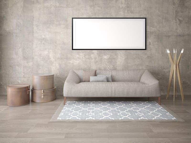 Förlöjliga upp en trendig vardagsrum med en stilfull sof vektor illustrationer