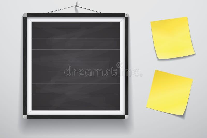 Förlöjliga upp för presentationen inramad skylt med två gula klistermärkear som hänger på väggen, den wood ramen för den svart ta royaltyfri illustrationer