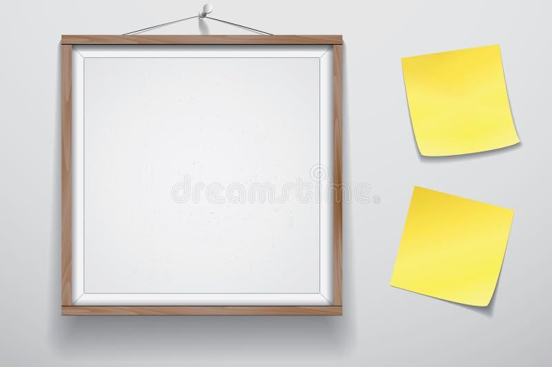 Förlöjliga upp för presentationen inramad skylt med två gula klistermärkear som hänger på väggen, Whiteboard den wood ramen vektor illustrationer
