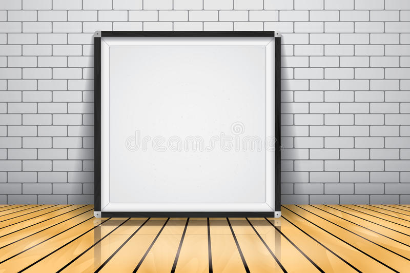 Förlöjliga upp för presentationen inramade skyltanseendet på det glansiga trägolvet, Whiteboard den wood ramen vektor illustrationer