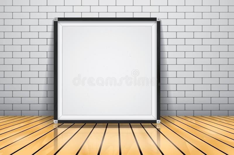 Förlöjliga upp för presentationen inramade skyltanseendet på det glansiga trägolvet, Whiteboard den wood ramen royaltyfri illustrationer