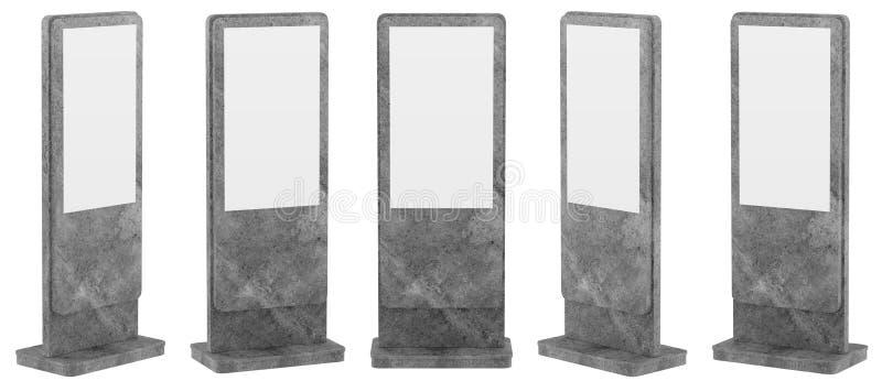 Förlöjliga upp fem svarta informationsskärmar Banerställningar i din design framförande 3d vektor illustrationer
