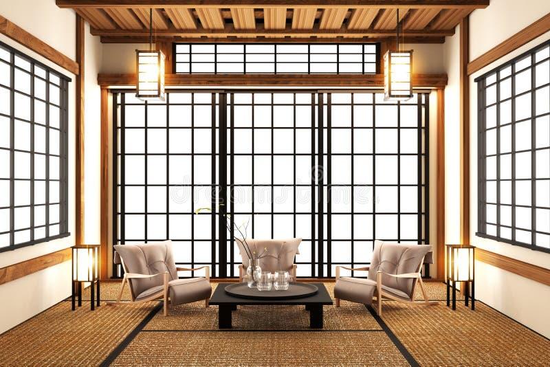 Förlöjliga upp - modern vardagsrum, japansk stil framförande 3d stock illustrationer