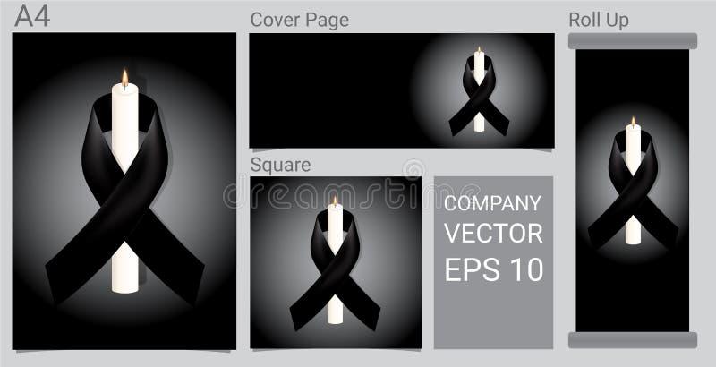 Förlöjliga upp sörjande symbol med stearinljuset och svärta respektbandet på det vita bakgrundsbanret Begravnings- kortillustrati stock illustrationer