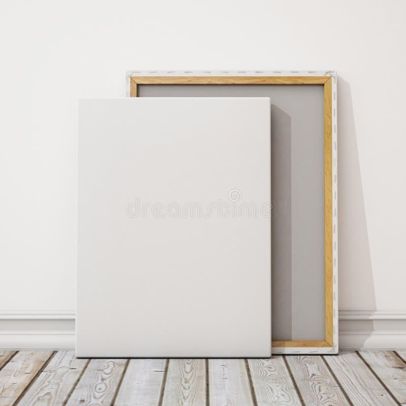 Förlöjliga upp tom kanfas eller affischen med högen av kanfas på golvet och väggen, bakgrund stock illustrationer