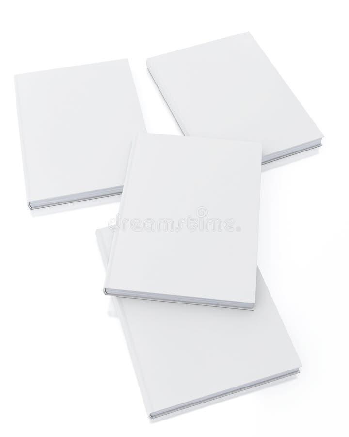 Förlöjliga upp tomma vita böcker som isoleras på vit bakgrund, mallen stock illustrationer