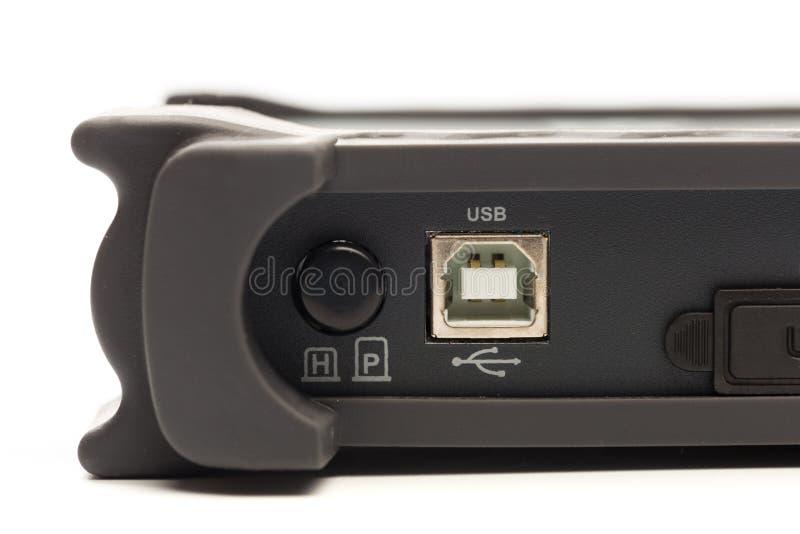 Förlaga för USB typ B av oscilloskopet för digital signal fotografering för bildbyråer