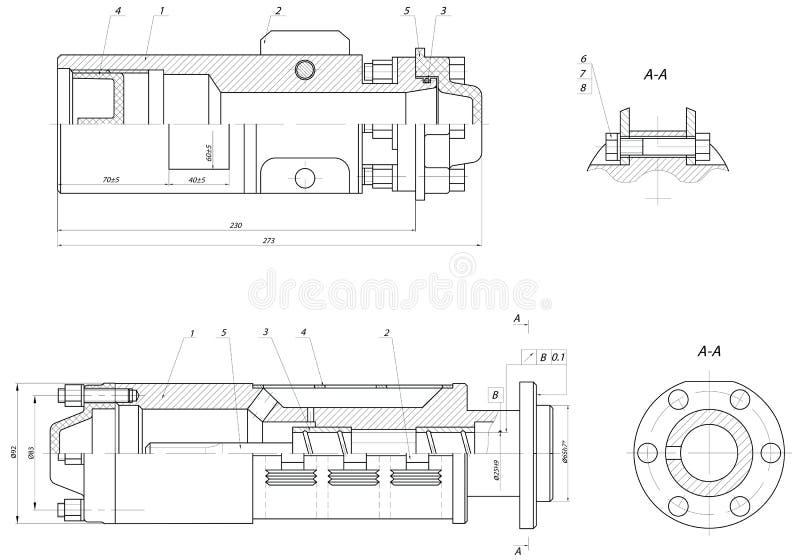 Förlageavsnitt av den sänkbara centrifugal pumpen vektor illustrationer